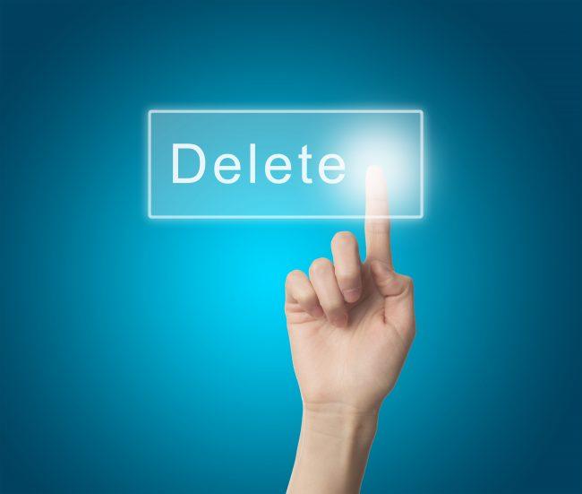 Delete data finger press