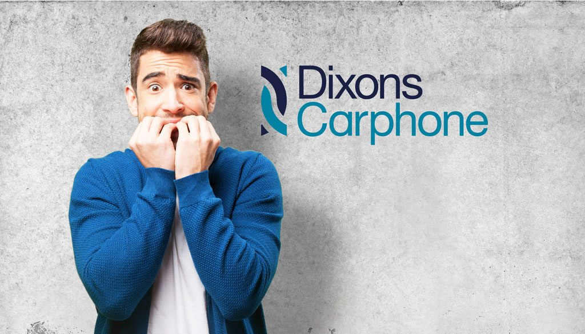 Man biting nails next to Dixons Carphone logo.