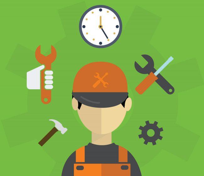 Cartoon of engineer - managed services