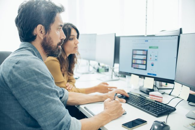 People using computers - managed services