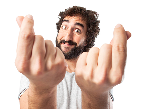 Bearded man waving his hands in your face - free software