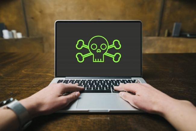 skull on laptop screen - it still works