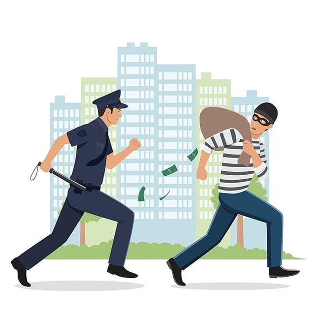 Burglar running from policeman