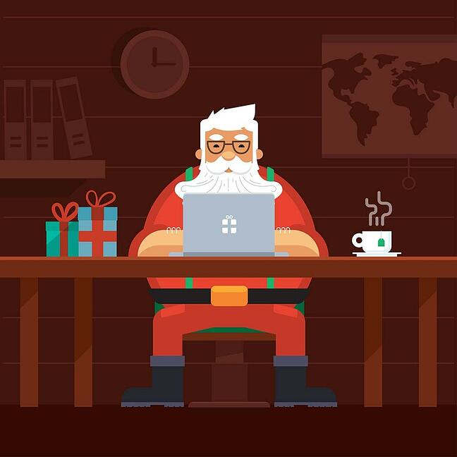 Santa using a laptop - cyber security