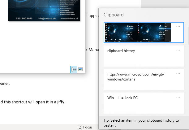 Clipboard history - Windows key shortcuts